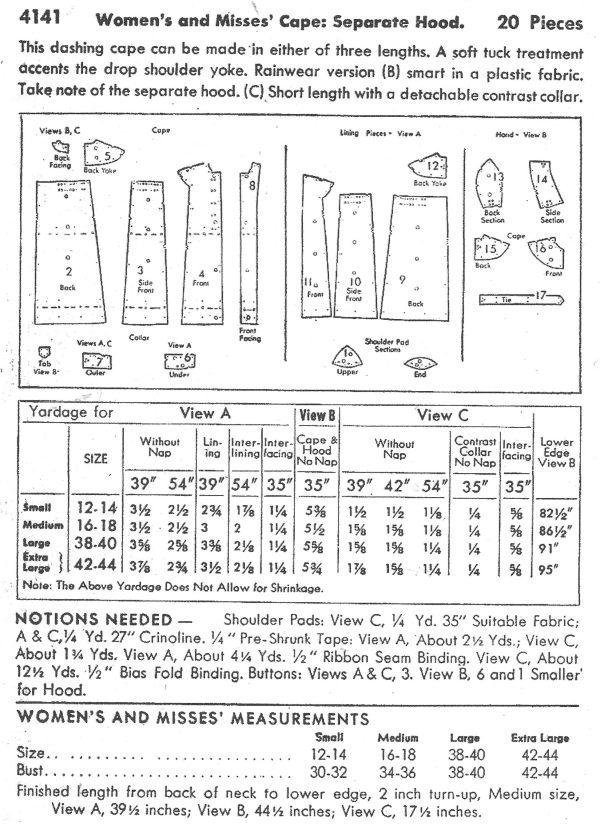 1940s Vintage Sewing Pattern CAPE & HOOD B34\