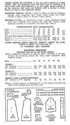 1940s WW2 Vintage Sewing Pattern B34in