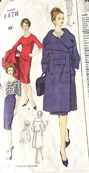 1586R 1960 Vintage VOGUE Sewing Pattern B34 COAT DRESS /& SCARF