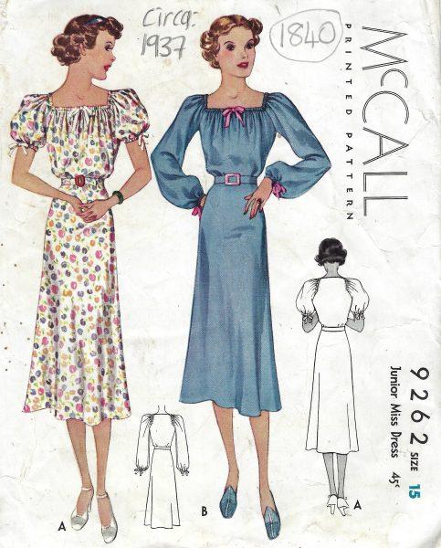 1937 Vintage Sewing Pattern B33\