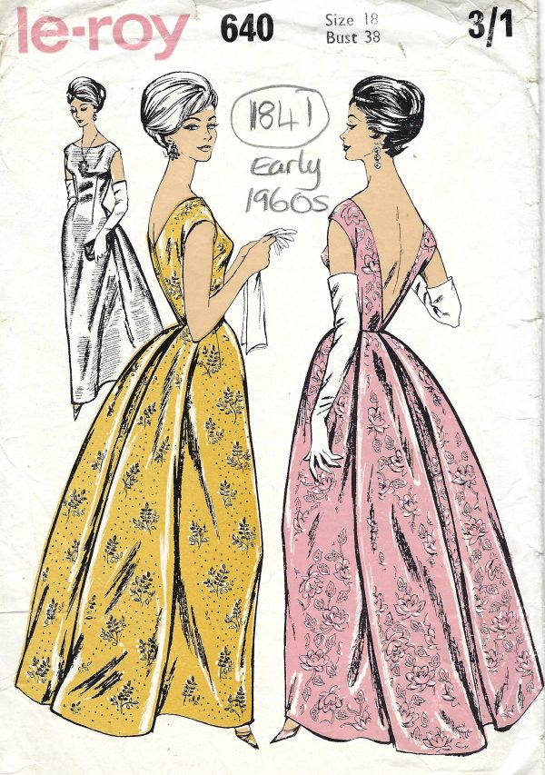 1960s Vintage Sewing Pattern B38 Evening Dress 1841 By