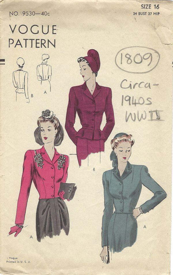 1940s WW2 Vintage VOGUE Sewing Pattern B34\
