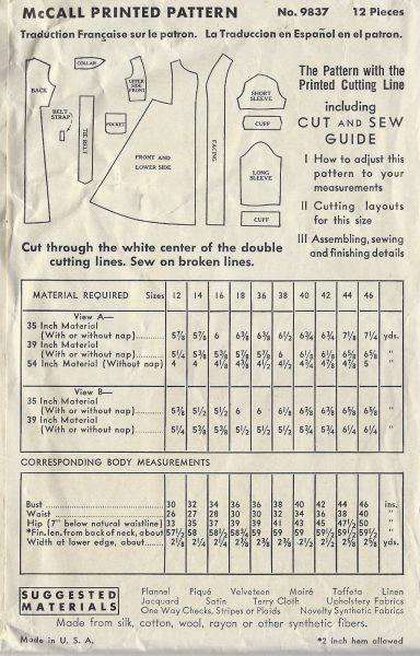 1938 Vintage Sewing Pattern B36 Bathrobe Dressing Gown 1442r By
