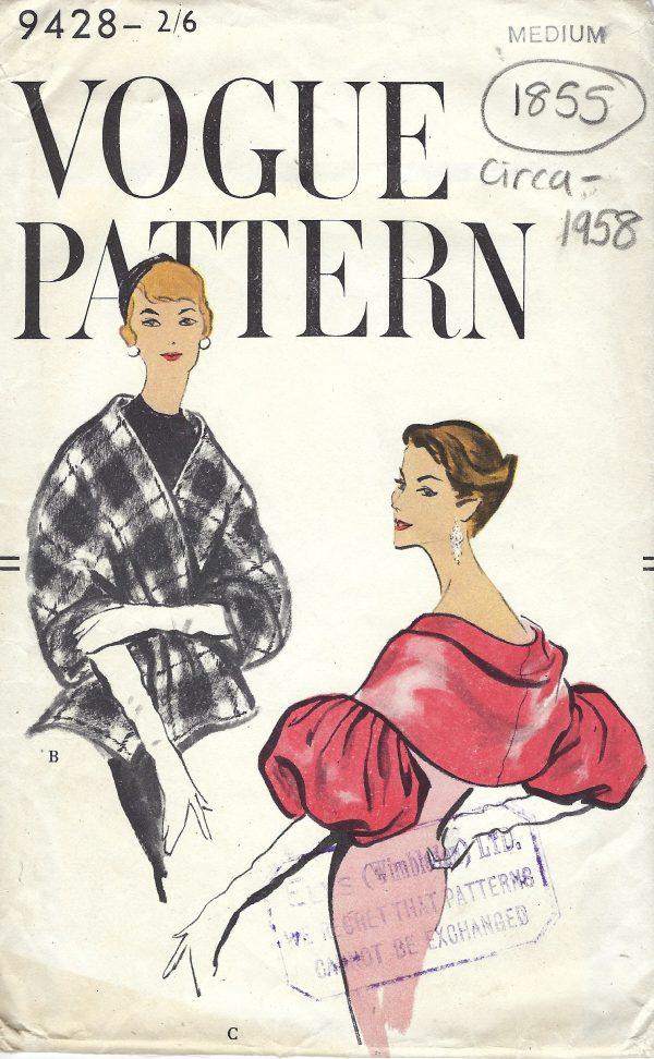 1958 Vintage Vogue Sewing Pattern B34 36 Caplets Stole Wrap 1855
