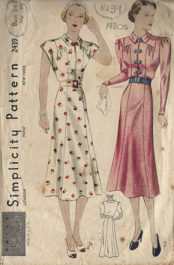1930s-Vintage-Sewing-Pattern-B34-DRESS-1439-261941886689