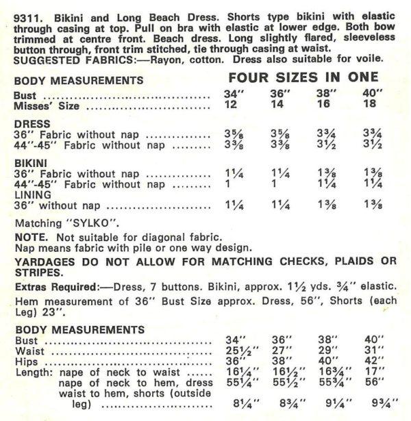 Barbara Hulanicki Biba 1960s Vintage Sewing Pattern Bikini Vestido de B34-40 1875R