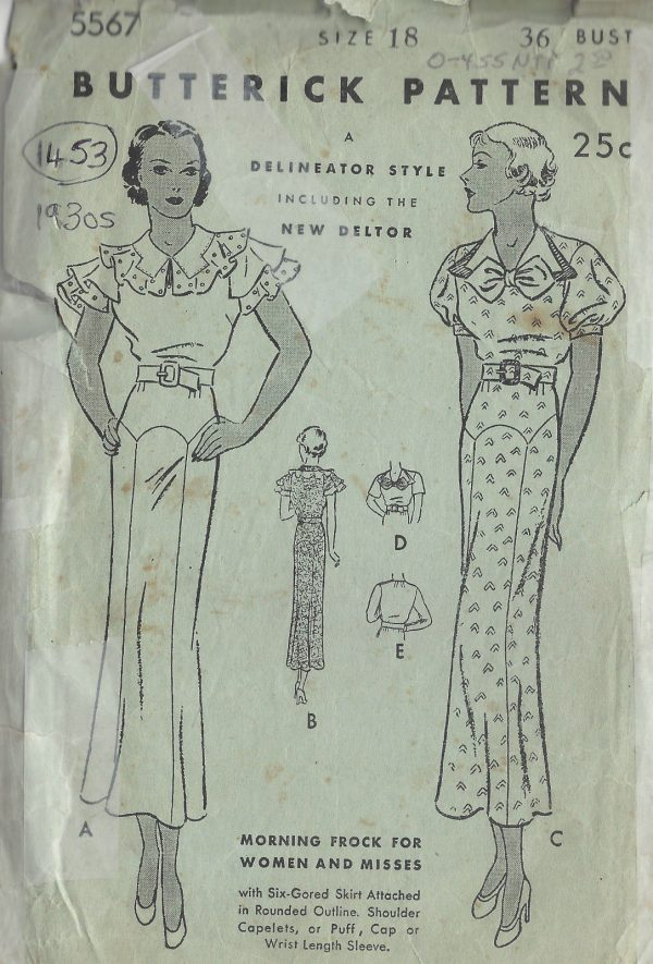 1930s Vintage Sewing Pattern B36 DRESS 1453
