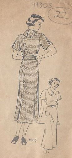 1930s-Vintage-Sewing-Pattern-DRESS-B36-22-251141726320