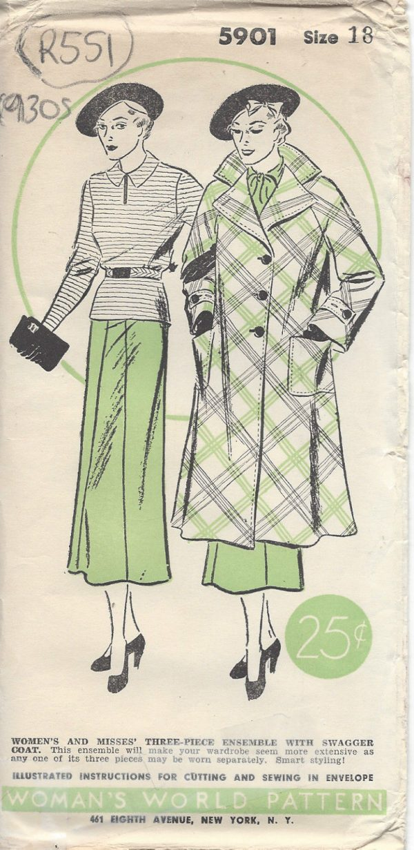 1930s-Vintage-Sewing-Pattern-SWAGGER-COAT-SKIRT-BLOUSE-B36-R551-251172071520