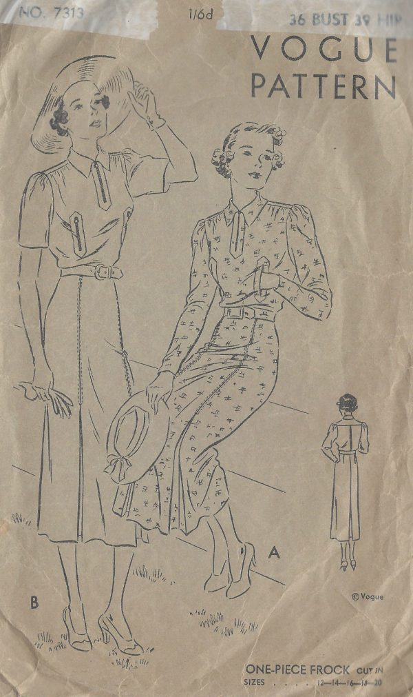 1930s-Vintage-VOGUE-Sewing-Pattern-B36-ONE-PIECE-DRESS-FROCK-1384-261729857870-2