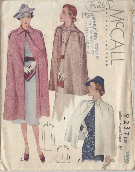 1937 Vintage Sewing Pattern CAPE B32\