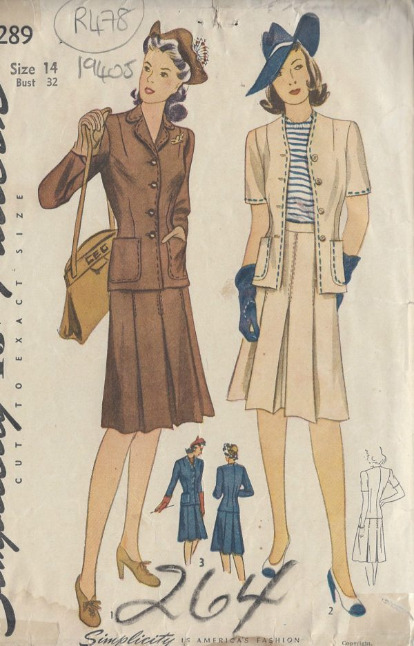 1940s-Vintage-Sewing-Pattern-B32-TWO-PIECE-SUIT-R478-251151573000