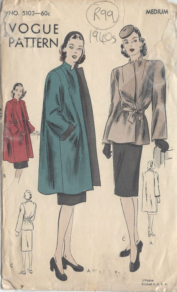 1940s Vintage Vogue Sewing Pattern B34 36 Coat Jacket R99