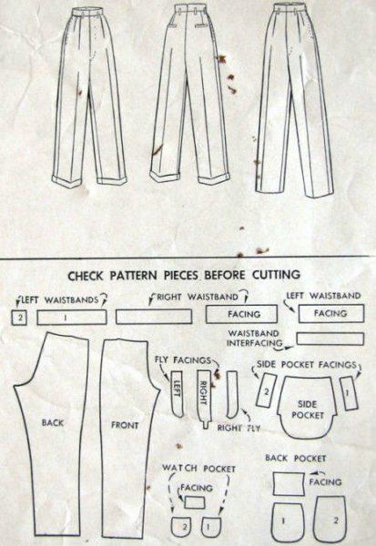 "1940s WW2 Vintage Sewing Pattern W38"" MENS PANTS TROUSERS ..."