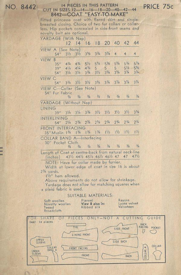 1940s-WW2-Vintage-VOGUE-Sewing-Pattern-B34-COAT-1816-262945115580-2