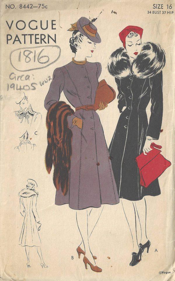 1940s-WW2-Vintage-VOGUE-Sewing-Pattern-B34-COAT-1816-262945115580