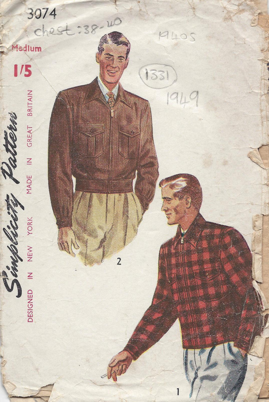 1949 Vintage Sewing Pattern C38 Quot 40 Quot Men S Jacket Amp Lumber