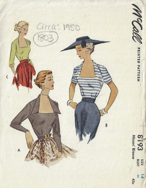1950s Blouse Pattern Available From The Vintage Pattern Shop