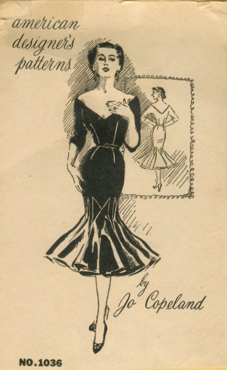 40s Vintage Sewing Pattern B40 4040 WIGGLE DRESS R40 By Jo Classy Vintage Dress Patterns 1950s