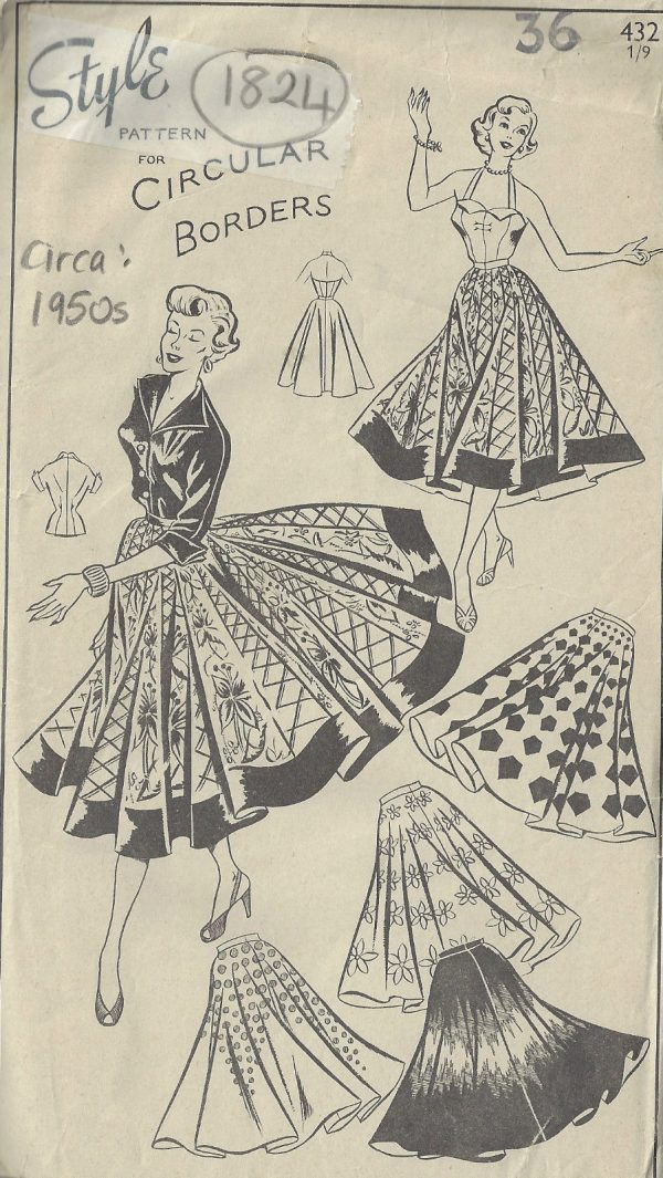 60s Vintage Sewing Pattern B60 W60 CIRCULAR SKIRT SUNTOP Fascinating 1950s Patterns