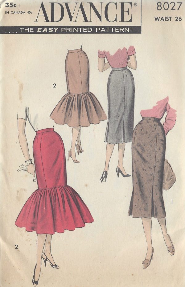 1950s Vintage Sewing Pattern W26 SKIRT (R984) - The Vintage Pattern Shop