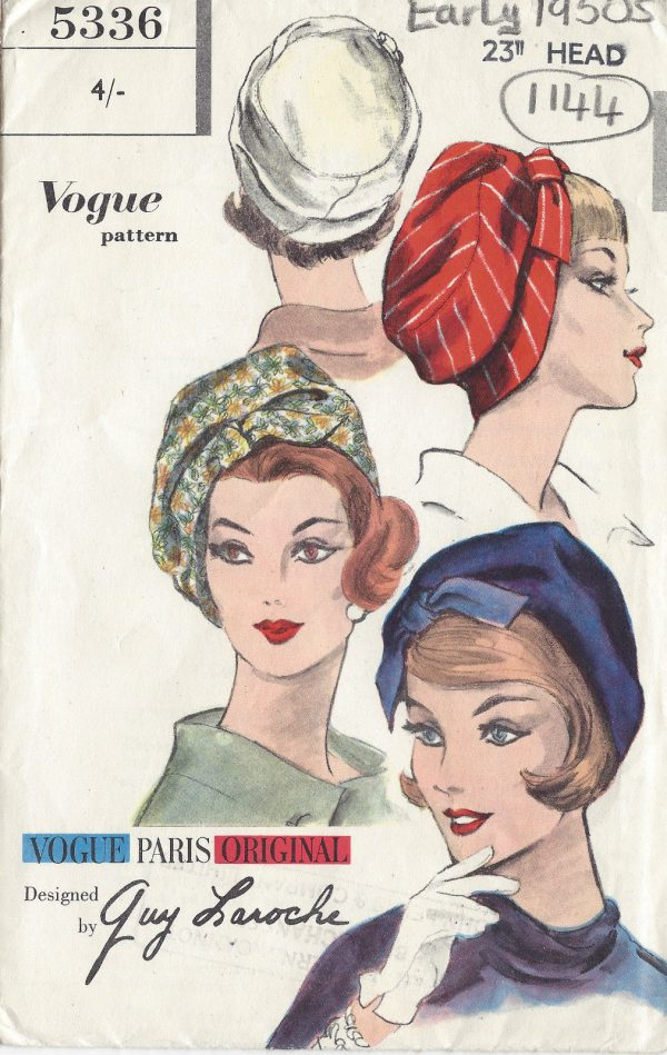 1953-Vintage-VOGUE-Sewing-Pattern-HAT-S23-1144-By-GUY-LAROCHE-261447463660