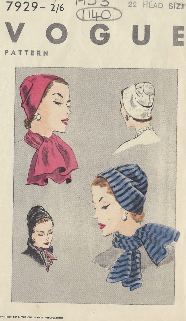 1953-Vintage-VOGUE-Sewing-Pattern-HAT-SCARF-S22-1140-251499984570