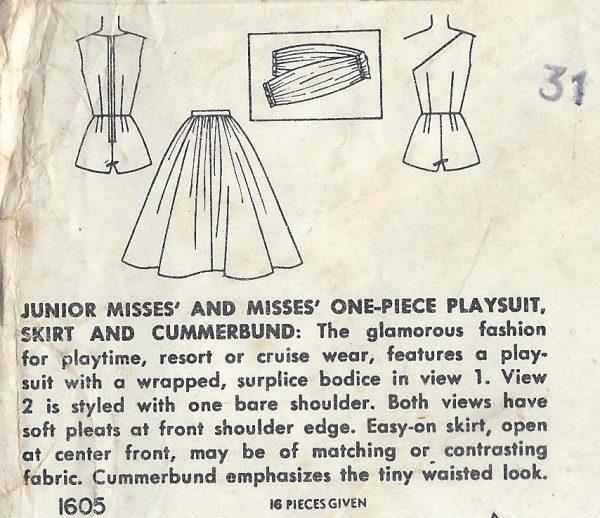 1956 Vintage Sewing Pattern B34 SKIRT CUMMERBUND PLAYSUIT (RR68 ...