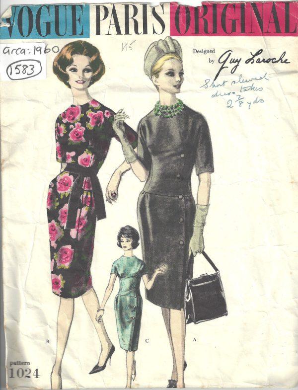 Vintage 60/'s Dress sewing pattern Vogue 1450 Fabiani Evening Cocktail B34