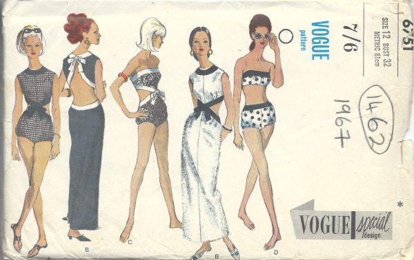 1967-Vintage-VOGUE-Sewing-Pattern-B32-DRESS-PLAYSUIT-BATHING-SUITS-1462RR-261968476450
