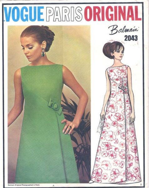 1968 Vintage VOGUE Sewing Pattern B34 EVENING DRESS (1634) By PIERRE ...
