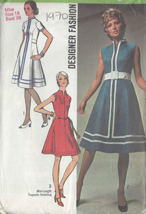 1970 Vintage Sewing Pattern B38 DRESS R696 251181610310