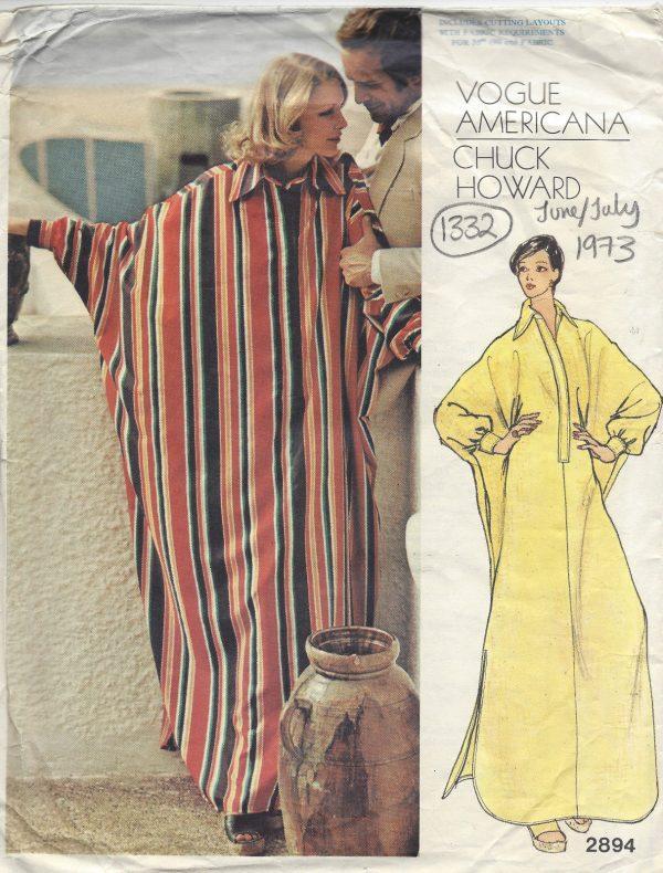 1973 Vintage VOGUE Sewing Pattern B36 CAFTAN DRESS (1332) BY CHUCK ...