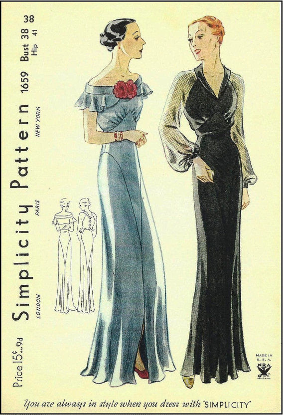 1939 Vintage Sewing Pattern B38 EVENING DRESS (R959) - The Vintage ...