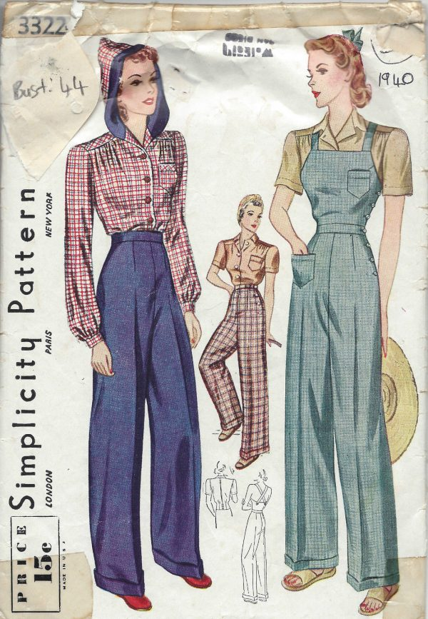 1940-Vintage-Sewing-Pattern-B44-W38-BLOUSE-TROUSERS-OVERALLS-1230-251699300181