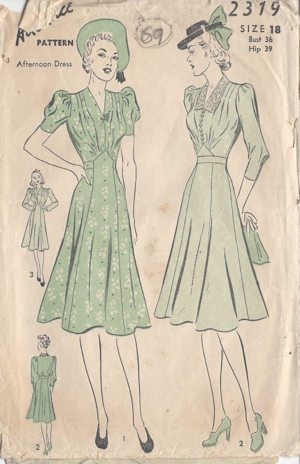 1940s Vintage Sewing Pattern Dress B36 Quot 69 The Vintage