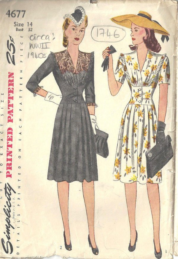 """1940s Style Dresses Fashion Clothing: 1940s WW2 Vintage Sewing Pattern B32"""" DRESS (1746)"""