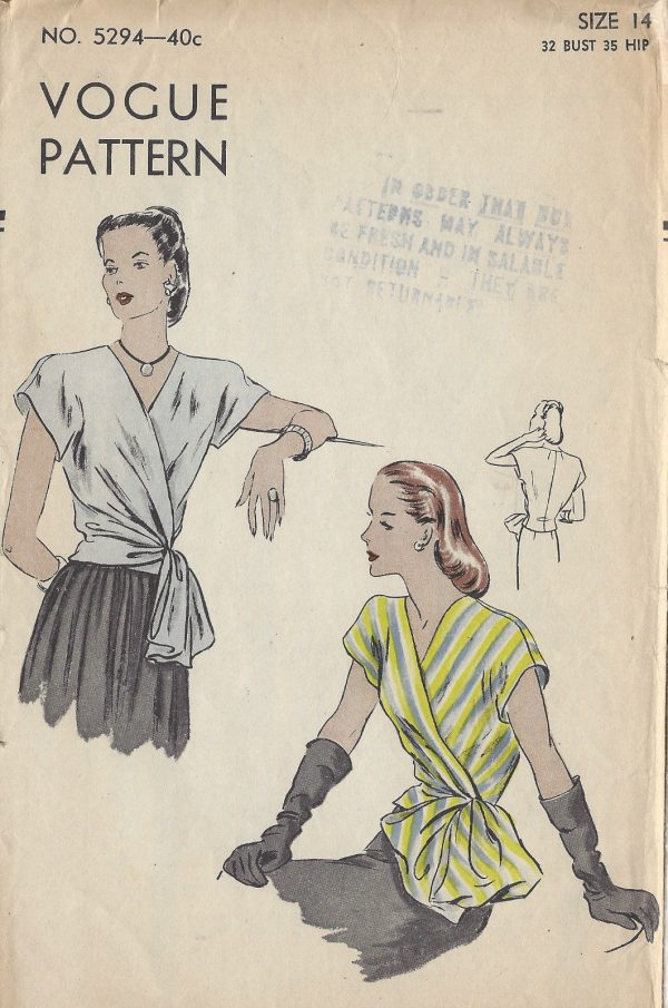 The Essential 1940s Style Blouse Vintage Frills: 1940s WW2 Vintage VOGUE Sewing Pattern B32 BLOUSE (1195