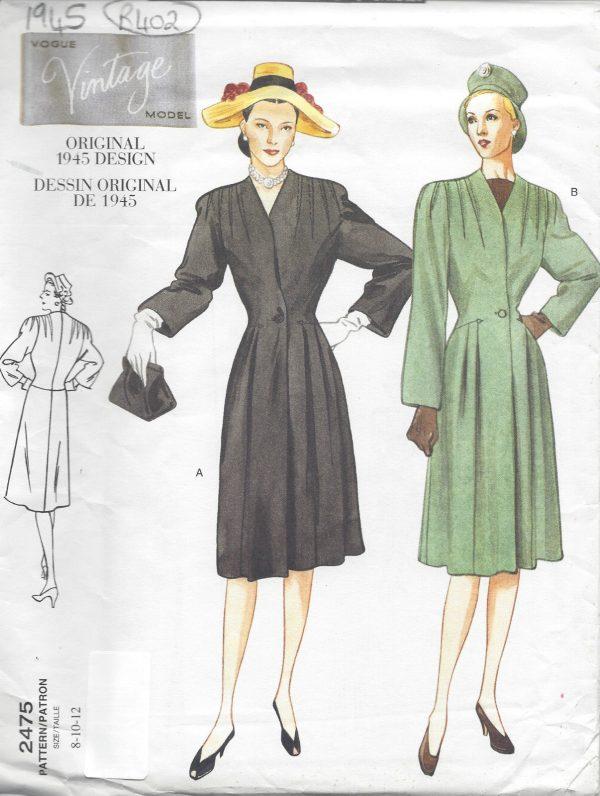 1945 Vintage Vogue Sewing Pattern Coat B31 12 32 12 34 R402