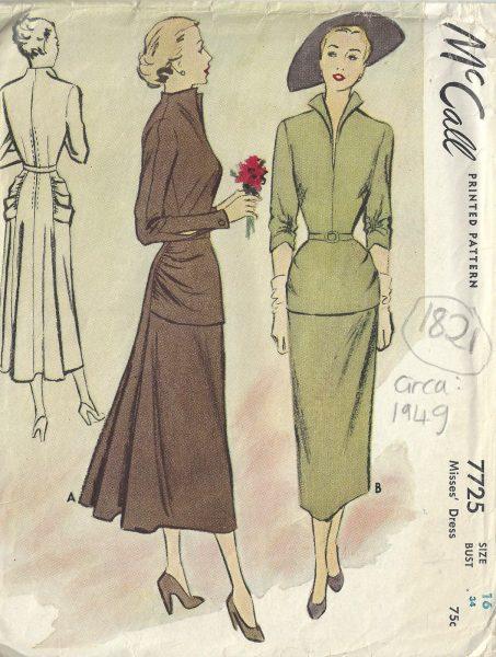 1949 Vintage Sewing Pattern B34\