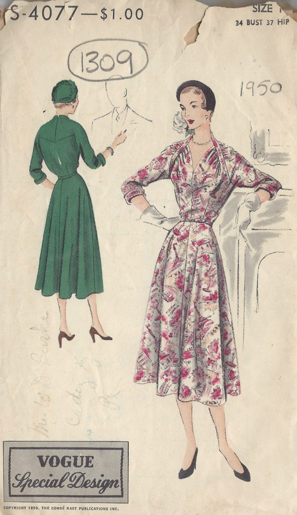 1950-VOGUE-Vintage-Sewing-Pattern-B34-DRESS-1309-251601918591