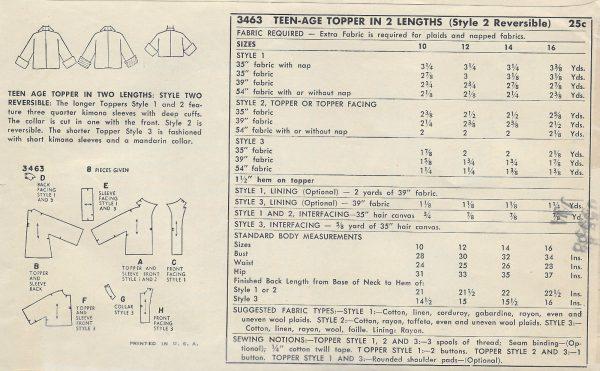 1950-Vintage-Sewing-Pattern-B30-TOPPER-JACKET-1294-261518187081-2
