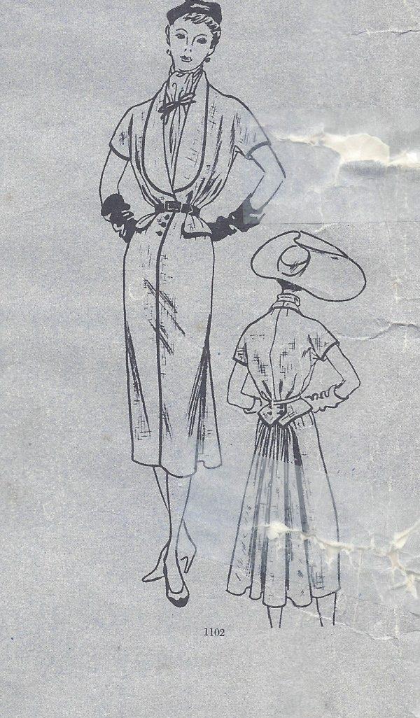 1950-Vintage-VOGUE-Sewing-Pattern-B36-DRESS-SCARF-1489-By-Jacques-Fath-262031443951-5