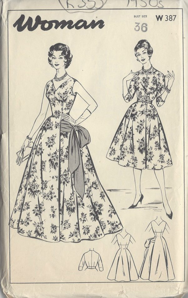 1950s Vintage Sewing Pattern B36 Quot Evening Amp Short Dress