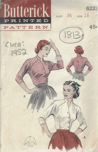 1952 Vintage Sewing Pattern B36\