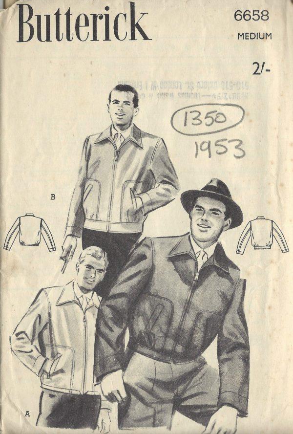 1953 Vintage Sewing Pattern MEN\'S JACKET C38\