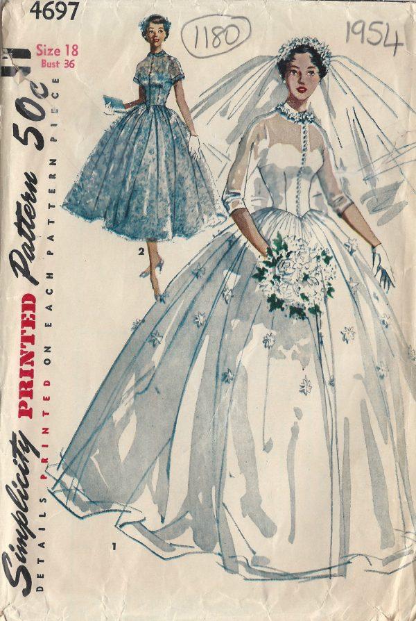 1954 Vintage Sewing Pattern B36 Bridal Gown Bridesmaid Dress