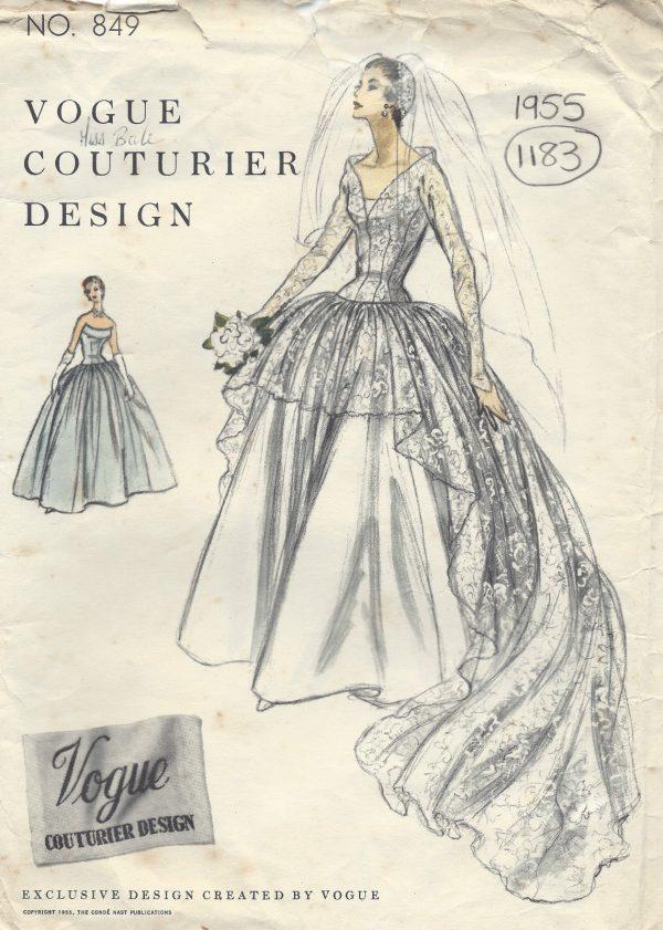 1955 Vintage VOGUE Sewing Pattern B34 BRIDAL DRESS or EVENING DRESS ...