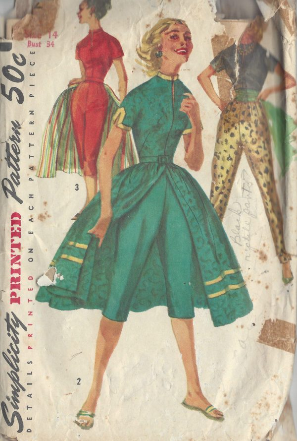 1956-Vintage-Sewing-Pattern-B34-PANTS-BLOUSE-OVERSKIRT-R987-252464846201