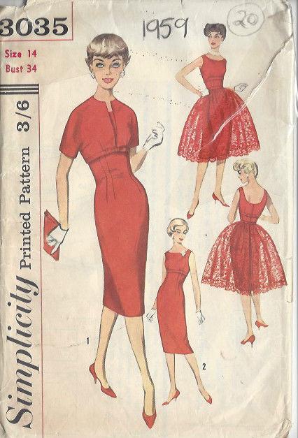 1959 Vintage Sewing Pattern DRESS B34\